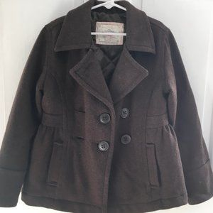 GIRLS Old Navy Brown Wool Blend Pea Coat SIZE M